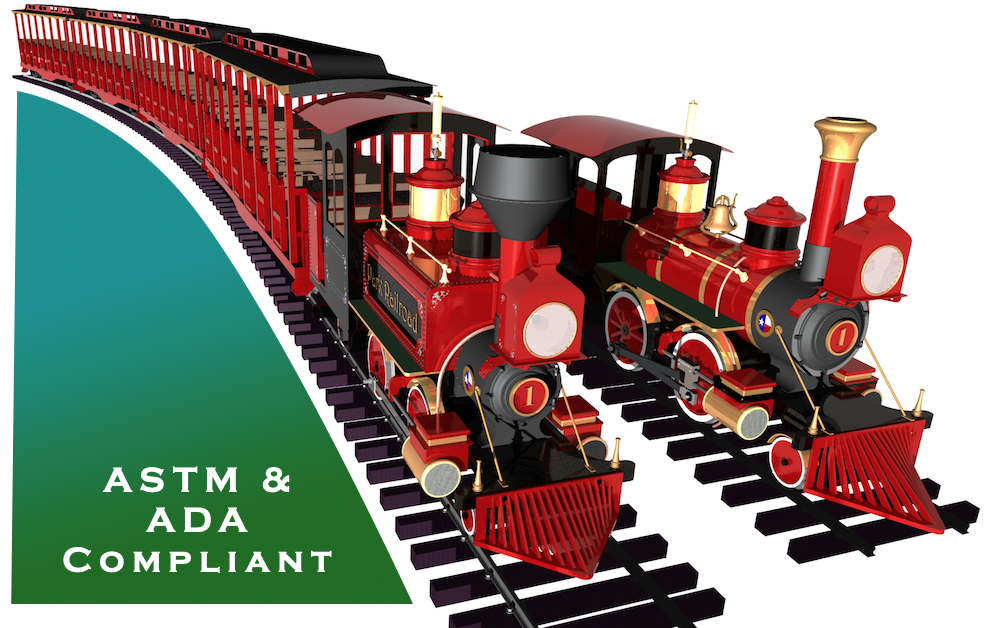 24 inch gauge trains for sale for theme parks, amusement parks, zoos, water parks, aquariums, family entertainment centers, science centers, museums, malls, and private estates.